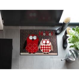 Fußmatte Salonloewe Design Eulen Lars & Lotte Rot