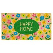 Fußmatte Happy Home Blumen Kokos
