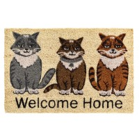 Kokosfußmatte welcome home Katzen