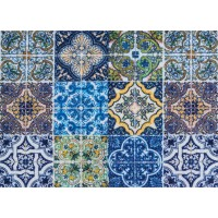 Fußmatte Clean Keeper Kacheln blau braun