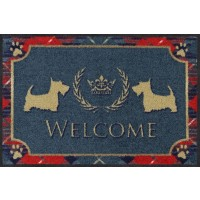 Fußmatte Welcome Terrier light blue