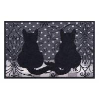 Fußmatte Easy Clean Katzen Ornamente grau