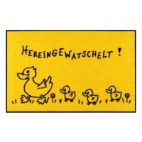 Fußmatte Salonloewe Hereingewatschelt Familie gelb