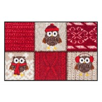 Fußmatte Salonloewe Winter Owls Red