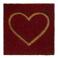 Kokosfußmatte Ruco Embossed red heart big