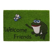 Kokosfußmatte Ruco Print welcome friends frog