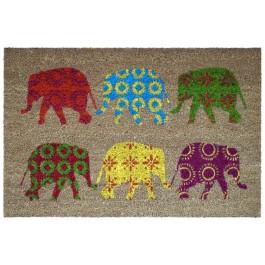 Kokosfußmatte Coco Design Elephants colorful