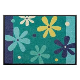 Fußmatte Easy Clean Blumen blau
