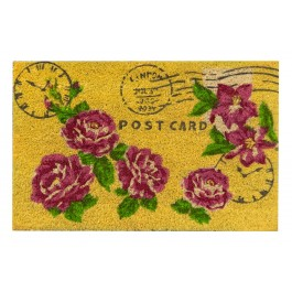 Kokosfußmatte Postkarte Rose