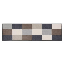 Fußmatte Salonloewe Design Karo Beige / Grau XXL