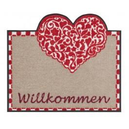 Fußmatte Salonloewe Design Willkommen Landhaus Form Herz
