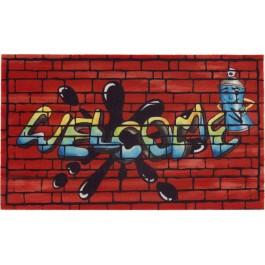 Gummifußmatte Classic Struktur Welcome Graffiti