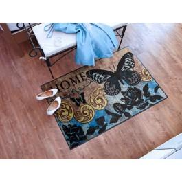 Fußmatte Salonloewe Design Papillon Bleu 75cm x 120cm