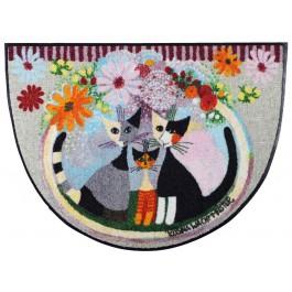 Fußmatte Salonloewe Famiglia con fiore halbrund